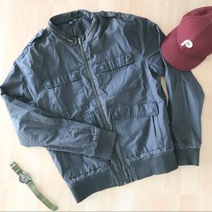 H&M Steel Gray Bomber Jacket